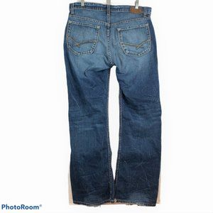 BKE DEREK Mens 34x32 Blue Denim Jeans Thick Stitch